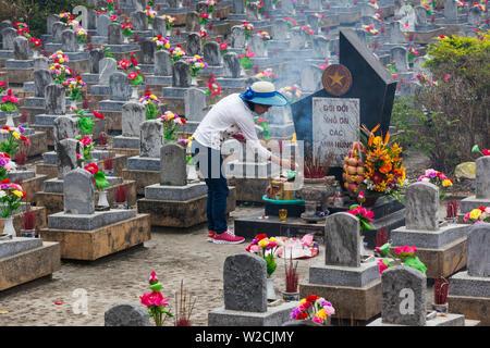 Vietnam, DMZ Area, Quang Tri Province, Truong Son National Military Cemetery, gravestones - Stock Photo