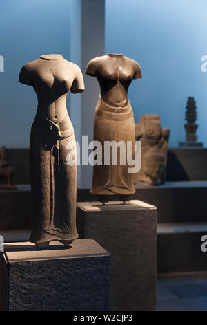 Vietnam, Ho Chi Minh City, History Museum, 11th century statues of female dieties - Stock Photo