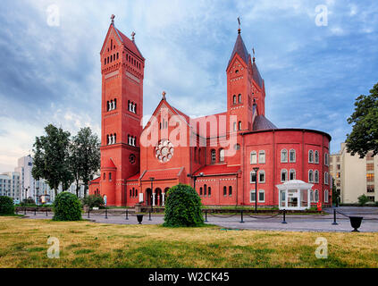 Red Church or Church Of Saints Simon and Helen at independence Square in Minsk, Belarus - Stock Photo