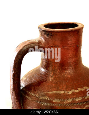 Terracotta water jug, old style - Stock Photo
