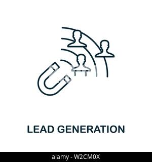 Lead Generation outline icon. Thin line concept element from content icons collection. Creative Lead Generation icon for mobile apps and web usage. - Stock Photo