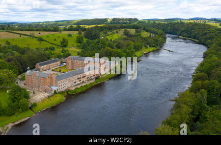 Aerial view of historic preserved Stanley Mills former cotton mills factory situated next to River Tay in Stanley, Perthshire, Scotland, UK - Stock Photo