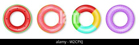 Life rings set collection Vector realistic. 3d detailed water inflated colorful rings - Stock Photo