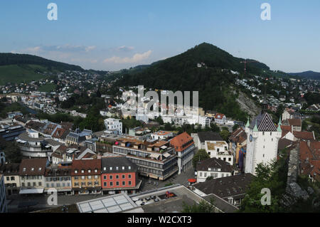 Switzerland: The view to the old town of Baden City in canton Aargau from the chateau above - Stock Photo