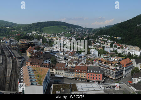 Switzerland: The view to the train station in the old town of Baden City in canton Aargau from the chateau above - Stock Photo