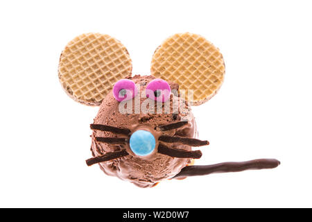 ice cream sundae: A mouse made out of ice isolated on white background - Stock Photo