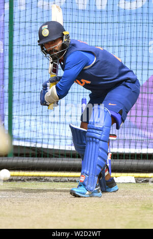 India's KL Rahul bats during the nets session at Emirates Old Trafford, Manchester. - Stock Photo