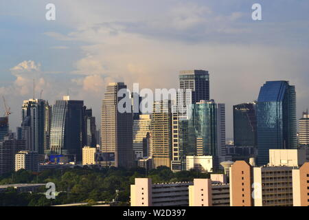 A high level view of skyscrapers in central Bangkok, Thailand, looking North from the Sathorn district - Stock Photo