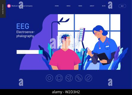 Medical tests template Blue - EEG - electroencephalography - modern flat vector concept digital illustration of encephalography procedure - a patient - Stock Photo