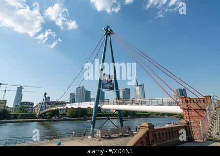 Frankfurt am Main, July 2019.  A view of the  Holbeinsteg bridge - Stock Photo
