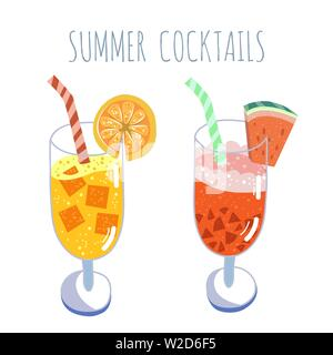 Tropical cocktails set, summer drinks, vector hand drawn illustration. Isolated cocktail glass with beverages. Trendy flat design - Stock Photo