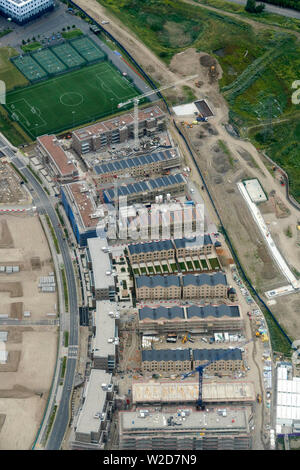 An overhead view of new development under construction, east end of London, UK - Stock Photo