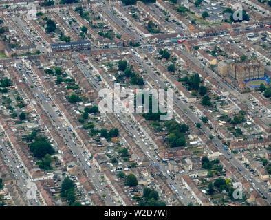 Overhead view of housing, East London, UK - Stock Photo