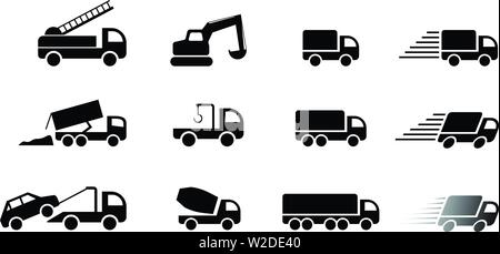 Set of truck service icon and sign, vector art design - Stock Photo