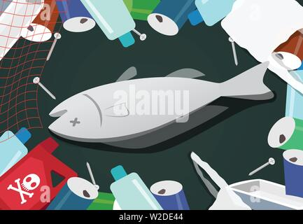 Corpse fish in pile of junk at sea pollution vector - Stock Photo