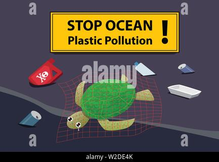 Corpse turtle at beach pollution with oil and junk, vector - Stock Photo
