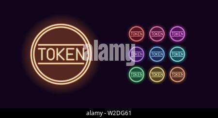 Neon Token icon, Cryptocurrency. Set of glowing Token coin in Neon style with transparent backlight. Vector silhouette, red pink purple violet blue az - Stock Photo