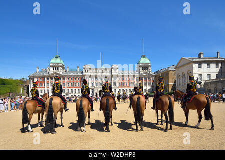 London, England, UK. Members of the King's Troop, Royal Horse Artillery, during the Changing of the Guard on Horse Guards Parade, Whitehall
