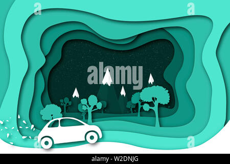 Concept of eco car with nature in paper art style . 3D illustration . - Stock Photo