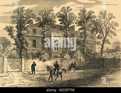 """'Old Gore House, in 1830', (c1876). Gore House, built in the 1750s and decorated by  architect Robert Adam, was residence of political reformer William Wilberforce between 1808 and 1821. In 1871, the Royal Albert Hall was built on the site of the former house and opened by Queen Victoria. From """"Old and New London: A Narrative of Its History, Its People, and Its Places. The Western and Northern Studies"""", by Edward Walford. [Cassell, Petter, Galpin & Co., London, Paris & New York] - Stock Photo"""