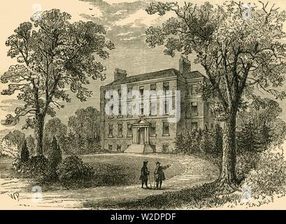 "'Belsize House in 1800', c1876. Georgian manor House in Belsize Park, rebuilt and improved upon many times, Spencer Perceval lived here until he became British Prime Minister. From ""Old and New London: A Narrative of Its History, Its People, and Its Places. The Western and Northern Studies"", by Edward Walford. [Cassell, Petter, Galpin & Co., London, Paris & New York] - Stock Photo"