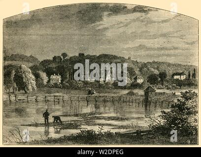 """'Highgate Ponds', c1876. Freshwater ponds on Hampstead Heath, fed by headwater springs of the River Fleet, originally dug in 17th and 18th centuries as reservoirs. From """"Old and New London: A Narrative of Its History, Its People, and Its Places. The Western and Northern Studies"""", by Edward Walford. [Cassell, Petter, Galpin & Co., London, Paris & New York] - Stock Photo"""