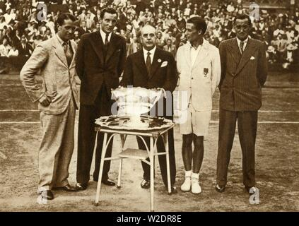 Great Britain wins the Davis Cup tennis championship, Paris, 30 July 1933, (1935). Creator: Unknown. - Stock Photo