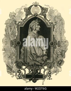 'Dante Alighieri', ( c1265 -1321), 1890.   Creator: Unknown. - Stock Photo