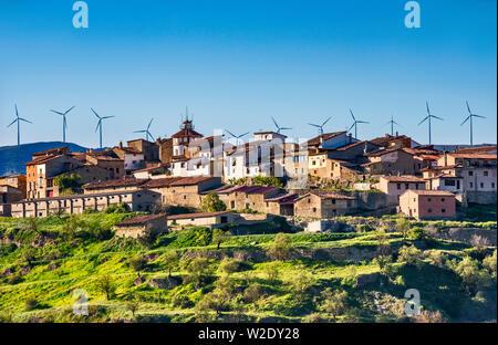 Wind turbines over Sorita, Maestrat (Maestrazgo) region, Castellon province, Valencia Community, Spain