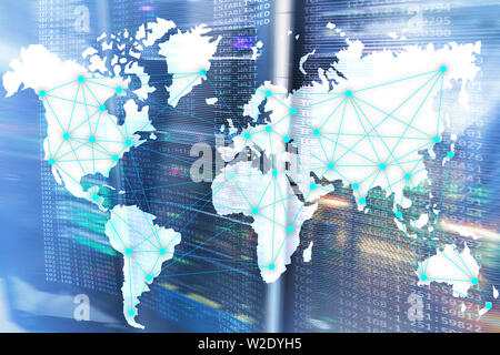 Internet and telecommunication concept with world map on server room background. - Stock Photo