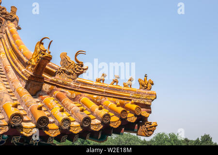 The iconic character of Chinese imperial roof decorations, the roof from building of Forbidden city  in Beijing, China - Stock Photo