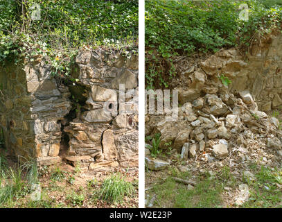 Before and after photos of an old rock wall, the first with a large crack in it with plants growing through it and the second after it's crumbled and - Stock Photo