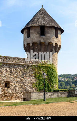 The mace tower (buzogánytorony) at the southern end of the Buda Castle District in Budapest, Hungary - Stock Photo