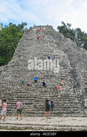 Coba, Mexico - Circa 2010. Coba is an ancient Mayan city on the Yucatán Peninsula, located in the Mexican state of Quintana Roo. Nohuch Mul - Stock Photo