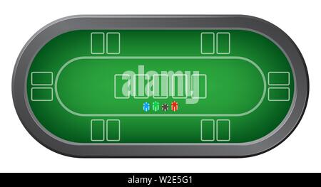 Green poker table with colorful casino chips top view - Stock Photo