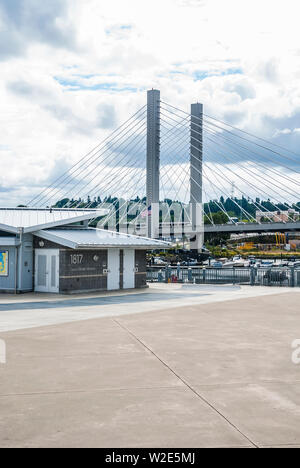 View of the 21st Street Bridge from the Marina near the Museum of Glass in Tacoma, Washington. - Stock Photo