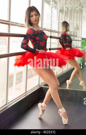 Young ballet dancer reclining on the studio bars in classic position - Stock Photo