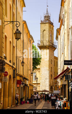 Tower of Hotel de Ville in Aix-en-Provence, street view, Aix is a city and commune in Southern France.