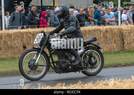 Goodwood Festival of Speed 2019 From pre-war Grand Prix veterans tosome very special machines including motorbikes put through their paces on the 1.16 - Stock Photo