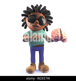 A rendered image of a cartoon dreadlocked black man holding a human brain, 3d illustration - Stock Photo