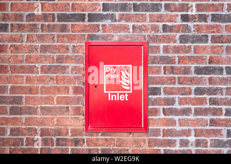 Dry riser red inlet box cover - Stock Photo