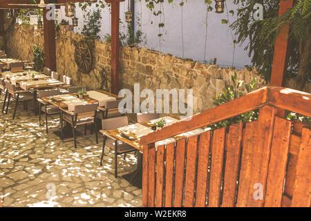 Sea restaurant in the Balkans, Montenegro. - Stock Photo