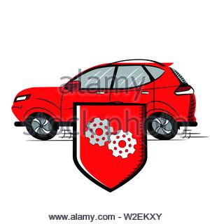 Red Car, Shield with Gears. Red Shield Icon - Stock Photo
