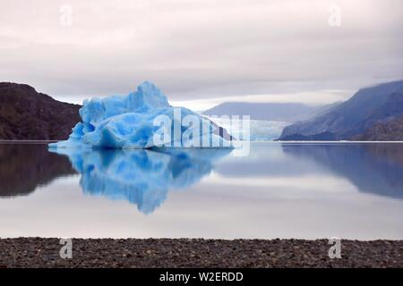 Icebergs in Lago Grey in the Torres del Paine National Park, in Chilean Patagonia