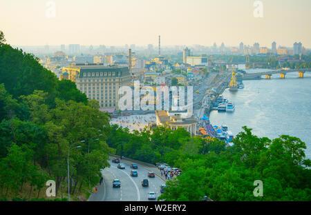 Skyline of Kiev at twilight. Podil, river Dnipro. Ukraine - Stock Photo