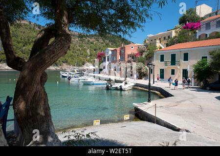 Assos Harbour Kefalonia Greece - Stock Photo