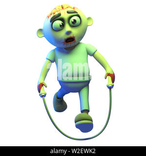 Silly cartoon undead zombie monste skipping with a rope, 3d illustration render - Stock Photo