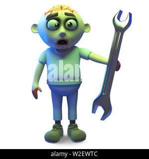 Silly zombie monster has a spanner and wants to help, 3d illustration render - Stock Photo
