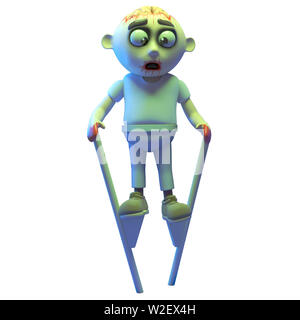 Silly undead zombie monster using stilts to walk around, 3d illustration render - Stock Photo