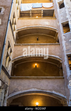 Traboule a historical passageway in Vieux Lyon or Old Lyon, one of Europe's most extensive Renaissance neighbourhoods, Lyon, France - Stock Photo